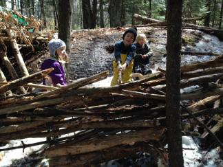 Ottauquechee School students building a house.