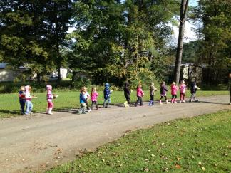 Bethel Elementary students start Science Hike Mondays with a hike outside.